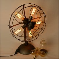 Wholesale America countryside style retro industry Loft RH Edison simple wrought iron electric fan desk lamp