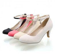mid dress - Ladies Retro Vintage Mid Heel Pumps Court Mary Janes Ankle Strap Shoes Plus Size