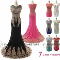 Cheap 2015 Cheap Arabic Evening Gowns Formal Dresses Gold Appliques Black Mermaid Prom Dresses IN STOCK Red Special Occasion Celebrity Dresses