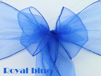 Wholesale 100 Royal Blue New Organza Chair Sashes Bow Cover Wedding Party Banquet Decorations Gift