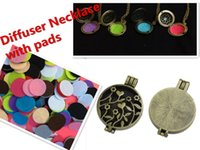 essential oil necklace - pc Hollow Locket Essential Oil Diffuser Filigree Flower Locket Necklace with Colorful Diffuser pads