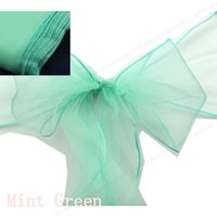 wedding chair sashes - 50 Mint Green Tying Chair Sashes Wedding Organza Chair Sashes Ribbons Bow Wedding Christmas Decor