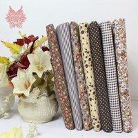 Cheap Crazy discount brown 7 Assorted pre cut charm cotton quilt fabric 9.4'' Fat Quarters SP782