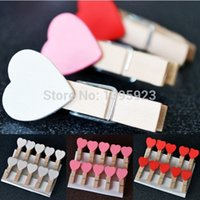 Wholesale 10Pcs Mini Heart Love Wooden Clothes Photo Paper Peg Pin Clothespin Craft Clips