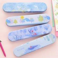 Al por mayor-4pcs / lot Corea del escritorio de dibujos animados lindo Estaño Pencil Box caja de lápiz de la caja de almacenaje para las muchachas de la escuela de los muchachos estudiantes