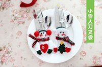 kitchen ware - Christmas Snowman tableware creative Kitchen Cutlery Holders Pockets Knifes Folks cover Xmas dinner ware J102001