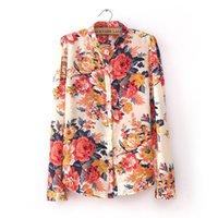 Wholesale Plus Size Chiffon Blouse Fashion Vintage Floral Print Pattern Chiffon Blouse Women Long Sleeve Shirt Tops sexy blouses