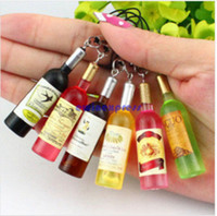 Mini Wine Moda cuello de botella de teléfono celular Correa de cordón teclas encantos del coche llavero de accesorios para teléfonos cadena clave