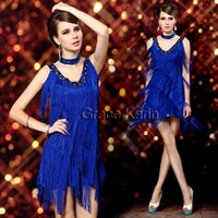 Wholesale Hot Sexy Girls Cocktail Club Salsa Ballroom Latin Dance Wear V neck Asymmetric Fringe Dresses CL7259