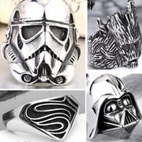 china star - 2016 New Star wars rings for men L Titanium steel Darth Vader Stormtrooper Vikings ring men s movies Super hero Lord of the Rings