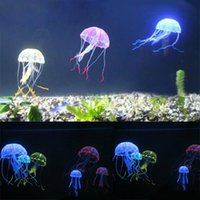 aquarium silicon ornaments - Hot Sale Soft Colorful Silicon Fluorescent Floating Glowing Effect Fish Tank Decoration Aquarium Artificial Jellyfish Ornament