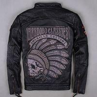 arrivals flights - 2015 New arrival Motorcycle Men s leather jacket black Indian chief skeleton embroidery head motorcycle jacket collar men flight coat