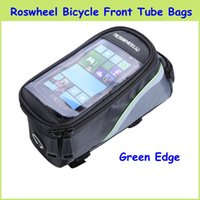 Wholesale 2015 Newest Roswheel quot quot quot Inch Waterproof Cycling Bike Front Tube Bags Blue Red Green Edge Front Phone Bag Case Holder For Sale