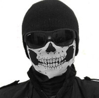 Wholesale 2016 NEW CS Cosplay Ghost Skull Black Face Mask Cap Motorcycle Biker Multi functional Skeleton Hat Scarf Balaclava