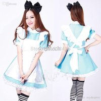 alice blue fancy dress - Adult Party Fancy Dress Costumes Blue Alice in Wonderland Girl Party Cosplay Fancy Coffee Maid Lolita Dress Apron Clothes