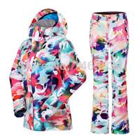 Wholesale GSOU SNOW Women Ski Suit Ski Jacket Ski Pants Camouflage Ms Winter Clothing Warm Female for single and double snowboarding