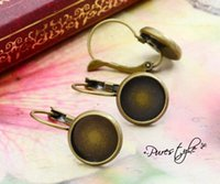 bezels - mm Antique Bronze French Lever Back Earrings Blank Base fit MM glass cabochons buttons earring bezels