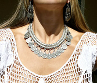 affair necklace - New Bohemian Gypsy Love Affair Necklace Antalya Silver Coin Choker Bib Statement Fringe Turkish Bohemian Boho India Festival Coachella