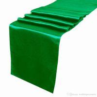 Wholesale 5 pieces Emerald Dark Green Satin Table Runner Wedding Cloth Runners Silk Organza Holiday Favor Party Decor RUN