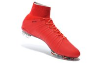 spike ball - Red Purple Ankle Net Soccer Shoes Men Outdoor Ball Boots Super Fly Football Cleats Athletic Sports Shoe Hi Tops Adult Footwear Running