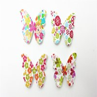 sewing buttons - Wood Button Holes Printed Butterfly Shape Sewing Scrapbooking Crafts Wooden Buttons diy Accessories for DIY and art