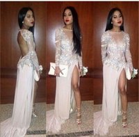 Wholesale long sleeve prom dress white Split dress Diyouth Long Open Back Sequin Prom Dress Champagne Formal Evening Dresses