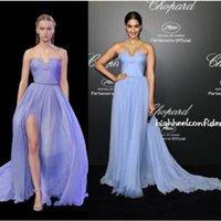 Cheap Cannes After Parties Sonam Kapoor Gorgeous Light Blue Chiffon Celebrity Evening Dress High Split New Elie Saab Couture Pageant Gown