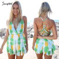 Wholesale 2015 saidas de praia feminina beach rompers with strap and deep v High waist short sexy jumpsuit Floral playsuit summer