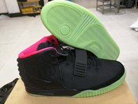 velcro - Super Perfect Nike Air Yeezy ii Black Solar Red With Scales Cut Can Glow In The Dark Men Basketball Sport Shoes