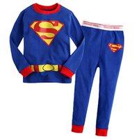 pajamas for children - Boys Girls Cotton Superman Pyjamas Sleepwear Children Cartoon Pajamas Set Kids Spring Long Sleeve Pijamas for Boy Pajama CF235