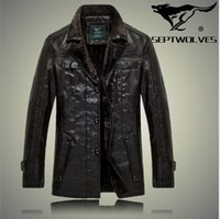 authentic fur coats - Fall New Authentic Brand men s leather jacket high quality fur male leather Coat men thick warm motorcycle sheep leather jackets