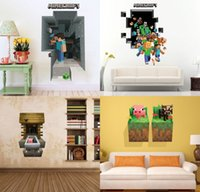 Wholesale 4 style options D Minecraft Run Away Wall Stickers Kids Creeper Decorative Wall Decal Cartoon Wallpaper Kids Party Wall Art X27
