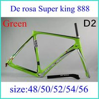 carbon road frame racing - De rosa SUPER KING carbon bike frame Nuova King RS Action Stealth Road Bike Carbon Frames Italy Quality Racing Carbon Frames green