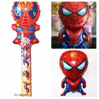 Wholesale Special Toys Inflatable Spiderrman clapper blow stick cartoon Helium Foil Balloons Party Decoration Balloons Baby Toys as gift