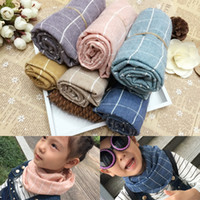 cotton shawls and scarves - Autumn and Winter Children plaid Comfortable Infinity Scarf kids scarfs cotton and flax Baby scarf and shawls