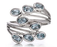 aquamarine fine jewelry - Natural Aquamarine Solid Sterling Silver Leaf Ring Gemstone Womens Fine Jewelry