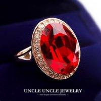 Solitaire Ring big red egg - Ultra big K Rose Gold Plated Big Egg Retro Style Austrian Crystal Red Ruby Luxury Wedding Lady Finger Ring krgp