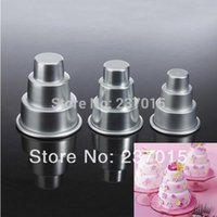 cake tins - 3pcs Mini Tier Cake Baking Pan Tin Sugarcraft Tools Decorating Aluminum Pastry Mold Set