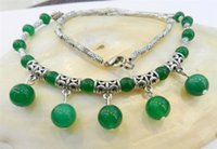 Wholesale Details about LOVELY NATURAL GREEN JADE ROUND BEADS PENDANTS TIBET SILVER NECKLACE quot
