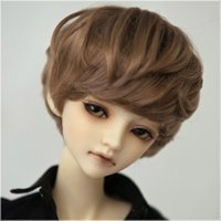 Wholesale golden brown short curl wigs for bjd male doll AS cm inch
