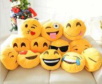 Wholesale 20 Styles Diameter cm Cushion Cute Lovely Emoji Smiley Pillows Cartoon Cushion Pillows Yellow Round Pillow bolster Stuffed Plush Toy