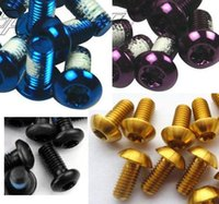 Wholesale Hot Super Light M5x10mm Disc Brake Rotor Gold Purple Black Blue Bolts Ti Titanium Bicycle Screws Bike Parts