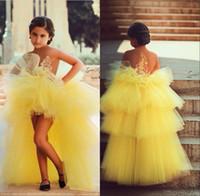 short front long back girls dress - Cheap Hi Lo Girls pageant dresses for little girls elegant short front long back vestido de festa de casamento flower girl dress