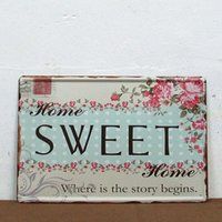 metal plaque - Vintage Retro Floral Home SWEET Tin Sign Metal Plaque Home Wall Decor P