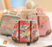 Wholesale Fashion flowers creative handbag bag iron mini storage tin coin box wedding candy box mix color