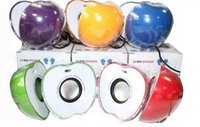 Wholesale LED lights crystal green red color apple speaker Mini Portable USB Speaker