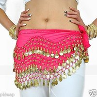 Wholesale Stylish Belly Dance Dancewear Golden Coins Waist Belt Hip Scarf Wrap Skirt Chain