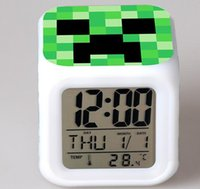 Wholesale new popular My world minecraft world table desk alarm colorful change coolie afraid of small clocks clock watch for kid children s gift