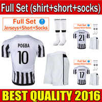 football set - 2015 JUVENTUS Soccer Jerserys Dybala Morata Khedira Pogba MACHISIO Football Kits shirt shorts socks home white Uniform Men Shirt full set