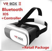 Wholesale 3D VR BOX II Version Head Mount Plastic Google Cardboard Virtual Reality Glasses D Game Movie bluetooth remotol control